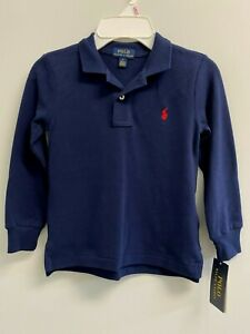 NEW Ralph Lauren Little Boys 5 Cotton Mesh Polo Shirt Long Sleeve Navy/Red Pony