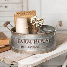 Vintage Galvanized Metal Round Bin Featuring Farm House Local Design