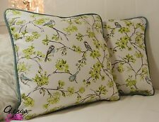 "PAIR Cushion Covers Birds Flower Aqua blue Lime cotton 16"" Piped  shabby chic"