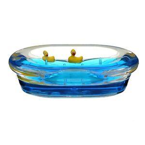Acrylic Clear Floating Ducks Design Oval Bath Soap Dish Tray Bathroom Organiser