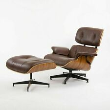 Rosewood Lounge Chair & Ottoman with Brown leather
