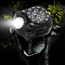 Military Tactical LED Flashlight Torch Wrist Watch W/Compass USB Rechargeable AG