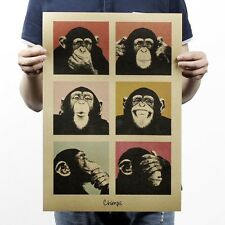 Adornment Home Decor Wall Paper Funny Retro Poster Kraft Orangutans