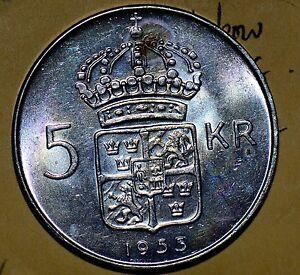 Sweden Y-80 1955 5 Krone Bu Rainbow Toning S0005 combine shipping