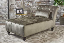 Chaise Lounge Sofa Chair Couch Tufted Back Seat Velvet Bedroom Home Furniture