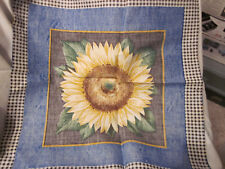 SUNFLOWER PILLOW FABRIC SQUARES - PINNED TOGETHER - JUST NEED SEWING & STUFFING