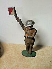 VINTAGE ANTIQUE MANOIL BARCLAY LEAD TOY SOLDIER HOLDING RED WHITE SIGNAL FLAGS