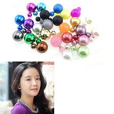 Celebrity Runway Double Pearl Bead Plug Earrings Ear Studs Pin Multicolor LOT