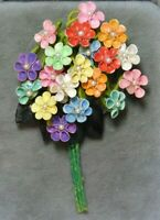Vintage Sea Shell Bouquet Blue Pink Red 'Forget me Not' Flower Brooch Pin