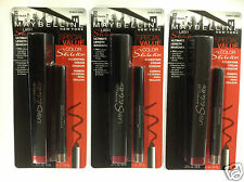 3 X Maybelline Lash Stiletto Mascara & Cream Shadow VERY BLACK/STARLET SABLE 02.