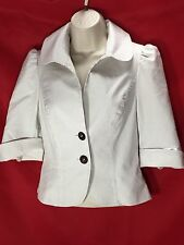 Guess Jeans Jacket Blazer two button Cropped pinstriped beige SMALL