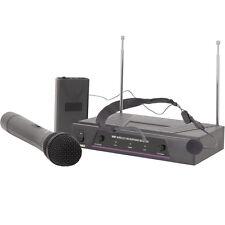 2 Channel Wireless Microphone Receiver System–VHF Handheld Headset Karaoke Radio