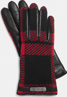 Coach Red Plaid Leather Glove Women's 71905 Size 6.5