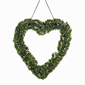 Topiary Heart Wreath Front Door Accessories With Hanging Chain Pukkr