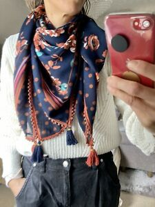 Oui, Scarf With Tassles, Foral & Polka Dots, Blue & Brown, 106x104 Cms