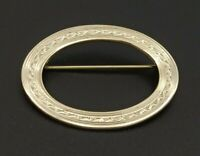 Vintage Oval Bar Brooch Pin Shiny Gold Tone Metal Etched Design Elegant