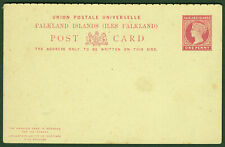 FALKLAND era Victoria double postal stationery pc ** 1 Penny/1 Penny red