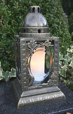 Grablaterne Grablampe Grabschmuck Grableuchte Grablicht in Bronze inkl Grabkerze