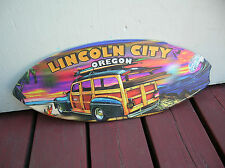 lincoln city surf shop wooden mini surfboard skimboard sign woody wagon surfer