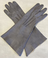 """Vintage Women's 11"""" Grey Soft Leather Gloves French B. Altman 7-1/4 Unlined"""