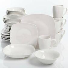 Porcelain Dinnerware Set 30-Piece Square Dinner Plates Dish Service For 6 White