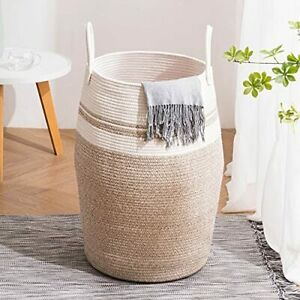 105L Extra Large Woven Laundry Hamper Basket with Heavy Duty Cotton Rope Handles
