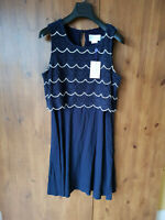 RRP £135 - LUXE by SERAPHINE DRESS Maternity Navy Blue Crochet UK 12 / 40 - NEW