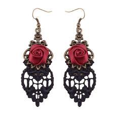 Paire Rétro Boucles D'oreille Vintage Gothique Punk Rockabilly Rose Fleur Bijoux