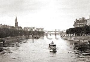 Vue Lyon Saône passerelle Saint-Georges Repro tirage photo ancienne déb. XXe s.