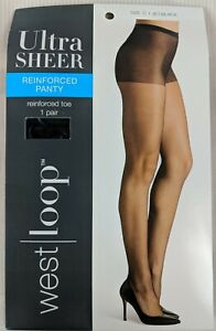 West Loop Ultra Sheer Reinforced Panty & Toe Pantyhose Jet Black Size C New
