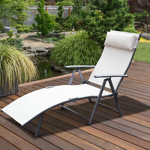 Outsunny Sun Lounger Recliner Foldable 7 Levels Textilene Cream White