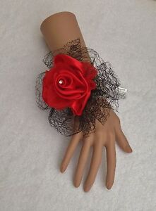 New Bespoke Black/Red Wrist Corsage Bride,Bridesmaid Wedding Guest Proms Races