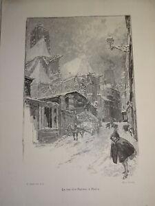 Auguste LEPERE 1849-1918 BOIS GRAVE ORIGINAL HIVER NEIGE RUE BARRES PARIS 1900