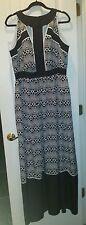 Size 14W Ivy & Blu Gown Maxi Dress black white animal print pockets Plus