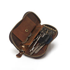 Men's Real Cow Leather Key Case Wallet With Zipper Around Key Chains Card Holder