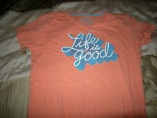 Brand New Misses Orange & Blue Life Is Good Shirt, Size M