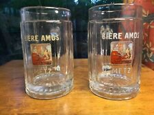 Amos Biere French Beer Mugs from the Brewery in Metz, France Cross of Lorraine