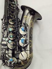 Eastern Music Professional shiny black nickel plated Alto Saxophone w/engravings