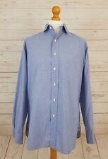 "Ralph Lauren Polo Men's Blue Long Sleeve Check Button Down Shirt 16.5"" Collar"