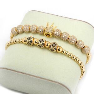 Luxury Men'S Micro Pave CZ Zircon Balls King Crown Braided Bracelets Adjustable