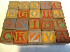 """20 Vtg/Antique Children's Wood Blocks 1 1/4"""" Sq~Letters~Animals~Numbers~Pictures"""
