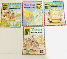 Lot of 4 States With Maps Highlights Which Way Usa Puzzle Books Workbooks