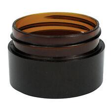 5 x 20g Amber Plastic Lip Balm Small Sample Cosmetic Jars Container + Black Cap