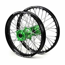 "Kawasaki KX85 Big Wheel 2001 2002 2003 2004 Wheels Set Green Black 16"" 19"" Rims"