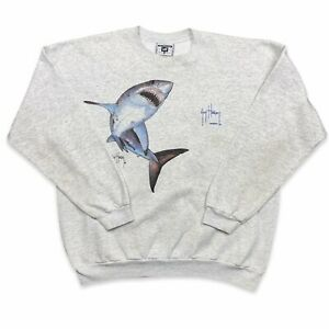 Vintage Great White Shark Guy Harvey Sweatshirt Crewneck Size 2XL XXL Gray 90s