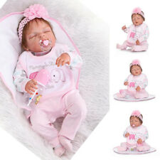 "Lifelike 55cm 22"" Baby Girl Reborn Doll Handmade Full Body Silicone Birthday Toy"