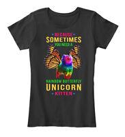 Quality Rainbow Butterfly Unicorn Kitten - Because Women's Premium Tee T-Shirt
