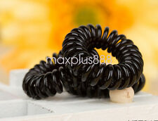 10pc Girl Elastic Rubber Hair Ties Band Rope Ponytail Holder Spiral-black