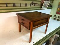 Vintage Mid Century Modern Lane One Drawer Side End Table Walnut Laminate Danish