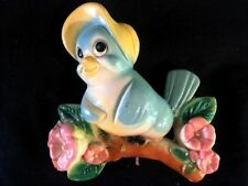 Adorable Vintage Chalkware Bluebird, Wall Decor With Hook